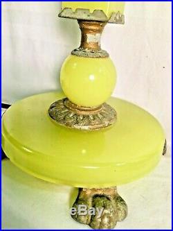 Antique Art Deco Vaseline Glass Table Lamp With Final Uranium Green 23