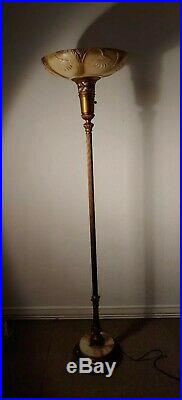 Antique Art Deco Vintage Torchiere Floor Lamp with Glass shade & marble base