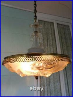 Antique Art Deco hanging chandelier light lamp fixture vintage old glass bedroom