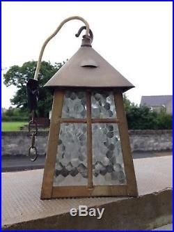 Antique Art Nouveau / Arts & Crafts Brass & Glass Lantern Lamp Porch Hall Light
