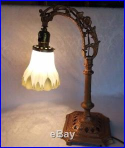 Antique Art Nouveau Bridge Table Lamp withTulip Hand Painted Glass Shade Beautifu
