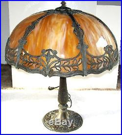 Antique Art Nouveau Caramel Slag Gl 6 Panel Table Lamp Tiffany Style