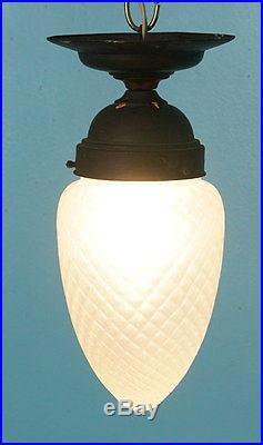 Antique Art Nouveau Ceiling Lamp Light Frosted Art Glass Globe Pine Cone Acorn