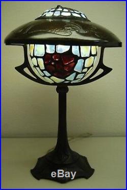 Antique Art Nouveau Deco Austrian French Bronze Jeweled Glass Arts Crafts Lamp