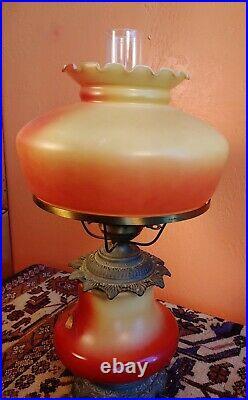 Antique Art Nouveau Floral Hand Painted Gwtw / Parlor Lamp