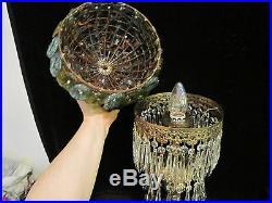 Antique Art Nouveau Gilt Spelter brass cherub lamp Murano glass shade vintage