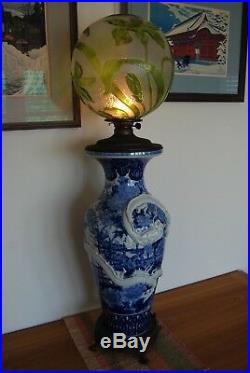 Antique Art Nouveau Japanese Chinese Porcelain Dragon Baccarat Glass Oil Lamp