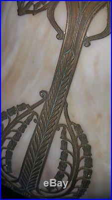 Antique Art Nouveau Lamp Slag Glass Shade Handel Tiffany Era for Repair