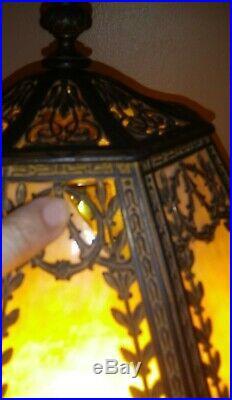 Antique Art Nouveau Miller Bent Slag Glass Cream Caramel 8 Panels Table Lamp