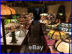Antique Art Nouveau Miller Slag Glass Table Lamp