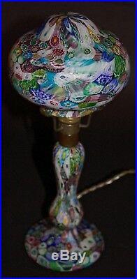 Antique Art Nouveau Murano Millefiori Fratelli Toso Glass Lamp