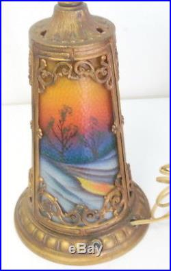 Antique Art Nouveau Pittsburgh Reverse Painted Glass Table Lamp withLight Up Base