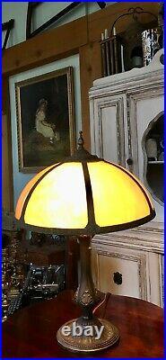 Antique Art Nouveau Salem Brothers Bent Slag Glass Lamp