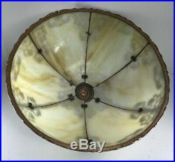 Antique Art Nouveau Signed Curved Slag Glass 6 Panel Shade and Lamp