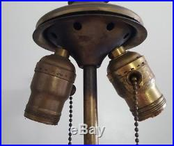 Antique Art Nouveau Slag Glass Lamp Base Daffodils Design Ornate