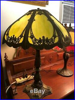 Antique Art Nouveau Slag Glass Table Lamp