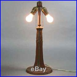 Antique Arts & Crafts Bent Slag Glass Table Lamp by Bradley & Hubbard circa 1920
