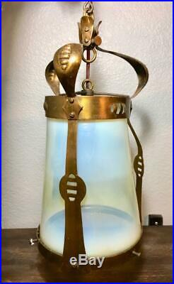 Antique Arts Crafts Brass Vaseline Opalescent Glass Light Fixture Lamp Shade