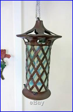 Antique Arts & Crafts Copper Vaseline Opalescent Lamp Glass Shade Lantern Hearts