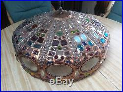 Antique Arts & Crafts Faceted Jeweled Art Glass Copper Lamp Shade Table Hanging