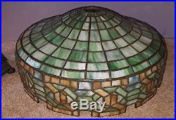 Antique Arts & Crafts Gorham Geometric Leaded Slag Stained Glass Table Lamp