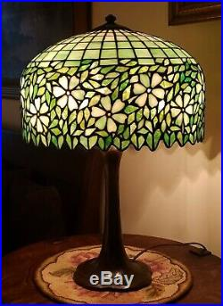 Antique Arts & Crafts Handel / Unique Leaded Slag Stained Glass Table Lamp