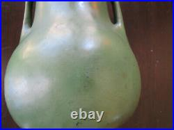 Antique Arts & Crafts Matte Green Pottery Lamp with Slag Glass Shade Weller Teco