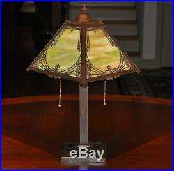 Antique Arts & Crafts Miller Slag Glass Desk Lamp
