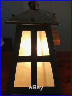 Antique Arts & Crafts / Mission Copper & Slag Glass Hanging Lamps Lanterns, 1900