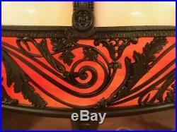 Antique Arts Crafts Mission Vintage Slag Glass Bradley Hubbard Handel Era Lamp