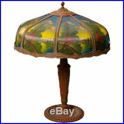 Antique Arts & Crafts Pittsburgh School Reverse Painted Panel Table Lamp
