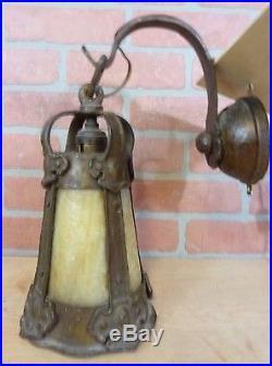 Antique Arts & Crafts Slag Glass Decorative Art Lamp w Bracket Fabulous Gothic