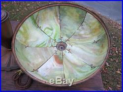 Antique Arts & Crafts Slag Glass Lamp Bradley Hubbard Handel Era Art Nouveau