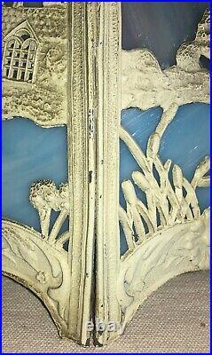 Antique Arts Crafts Slag Glass Ornate Scenic 6 Panel Lamp Shade Oriental Motif