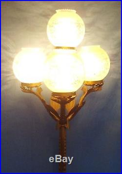 Antique Arts and Crafts Wrought Iron 4 Arm Floor Lamp with Etched Glass Shades