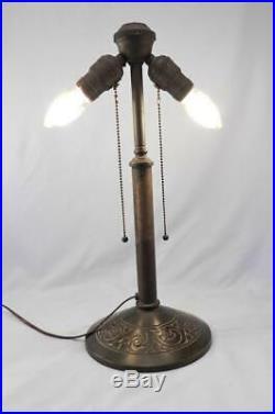 Antique BRADLEY & HUBBARD B&H LampArts & CraftsMissionLeaded Stain GlassSlag