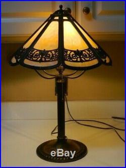 Antique B&H Art Deco Art Nouveau Slag Glass Lamp with Rare 4-Arm Spider Frame