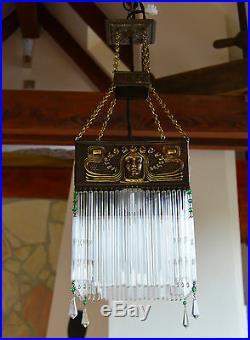 Antique Bohemian ART NOUVEAU 1920's Glass Tubes CEILING LIGHT LAMP Fixture
