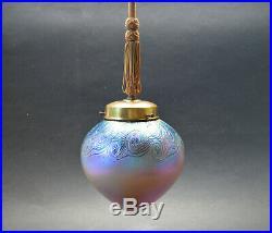Antique Bohemian ART NOUVEAU 1920's Iridescent Glass CEILING LIGHT LAMP Fixture