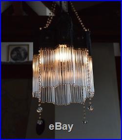 Antique-Bohemian-ART-NOUVEAU-1920s-Glass-Tubes-CEILING-LIGHT-LAMP-Fixture