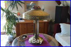 Antique Bohemian Austrian ART Nouveau 1910's Brass Lamp with Glass Stones