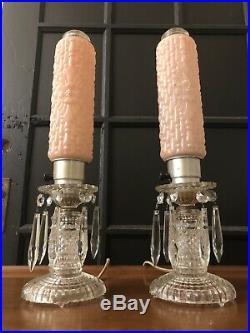 Antique Boudoir Lamp bullet 1930's Art Deco vanity table pair crystal torpedo