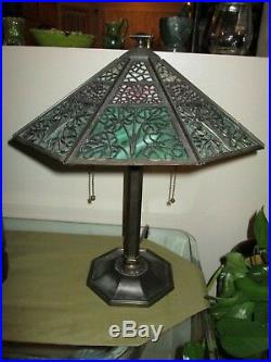 Antique Bradley Hubbard Arts Crafts Electric Table Lamp Murano Glass