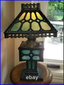 Antique Bradley & Hubbard Arts Crafts Mission Cast Iron Lamp Original Slag Glass