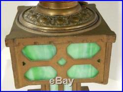 Antique Bradley & Hubbard Arts and Crafts Mission Slag Glass Lamp Cast Iron