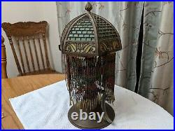 Antique Bradley Hubbard Style Lamp With Murano Slag Glass Shade Arts and Crafts