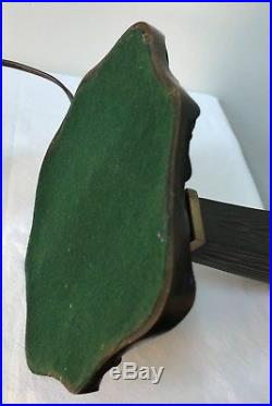 Antique Bronze Table Lamp with 1 Signed Quezal Art Glass Aurene Iridescent Shade