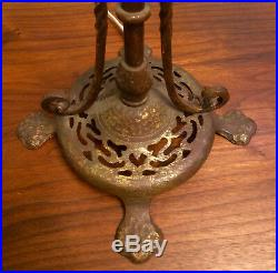 Antique Bronze and Gilt painted Cast Iron table lamp w Quezel Art Glass Shades