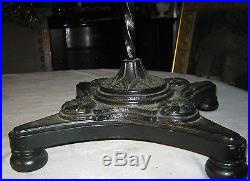 Antique Cast Iron Bridge Floor Lamp Glass Shade Sconce Light Floral Brass Art