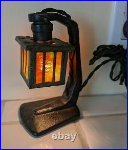 Antique Cast Iron Slag Glass Mission Arts and Crafts Night Light Miniature Lamp